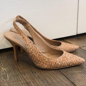 Weaved tan and silver sling back heels
